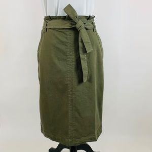 NWT Green Paper Bag Tie-Waist Pencil Skirt Size 8